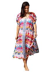 Femme Bohème Tunique Robe Plage Vacances Sexy Bohème,Imprimé Col en U Maxi Manches Courtes Multi-couleur Polyester Eté Taille Normale