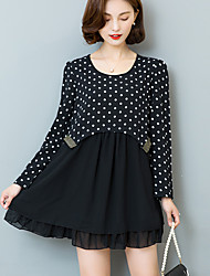 Plus Size Casual/Daily Street chic Loose Dress,Polka Dot Patchwork Ruched Round Neck Above Knee Long Sleeve Polyester Nylon BlackSpring