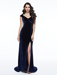 TS Couture® Formal Evening Dress - Elegant Celebrity Style Sheath / Column V-neck Sweep / Brush Train Velvet with Pleats