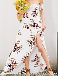 Women's Off The Shoulder Beach Holiday Vintage Swing Dress,Floral Off Shoulder Maxi Short Sleeve Polyester Spring Summer High Rise Micro-elastic Thin