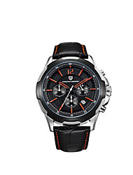 Sport Watch Quartz Leather Band Black