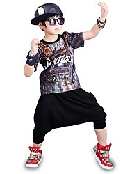 Boy's Cotton Fashion Pure Cotton Round Collar  Printing Short Sleeve Harlan Shorts Street Dance Two-Piece Outfit