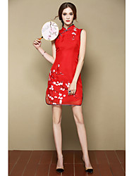 I-YECHO  Women's Going out Party/Cocktail Holiday Cute Chinoiserie A Line DressFloral Stand Above Knee Sleeveless Pink Red Silk Spring SummerMid