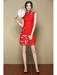 Trapèze Robe Femme Sortie Soirée / Cocktail Vacances Mignon Chinoiserie,Fleur Mao Au dessus du genou Sans Manches Rose Rouge Soie
