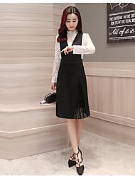 modelo real tiro 2017 peça nova moda primavera mulheres de vestido vestido equipado com decote em v costura # 1612