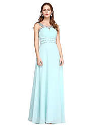2017 TS Couture® Formal Evening Dress - Elegant A-line Jewel Floor-length Charmeuse with Beading Pleats