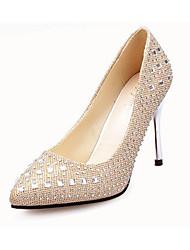 Для женщин Обувь на каблуках Полиуретан Осень Повседневные Бусины На шпильке Золотой Серебряный Серый Красный 9,5 - 12 см