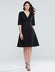 Women's Plus Size / Casual/Daily Sexy / Simple Pleated Stretch Sheath DressSolid Deep V Knee-length  Length Sleeve