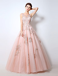 Formal Evening Dress A-line Jewel Floor-length Lace with Lace