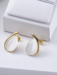 Brincos Curtos Moda Europeu Opala Branco Jóias Para Diário Casual 1 par
