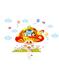 Wall Stickers Wall Decals Style Lovely Animal Mushroom House PVC Wall Stickers