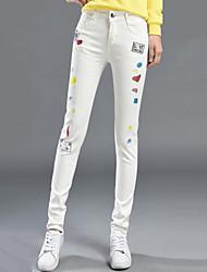 Da donna Taglie forti Taglia piccola Jeans Chino Pantaloni-Moda città Casual Con stampe Con ricami A vita alta Cerniera Bottoni Cotone