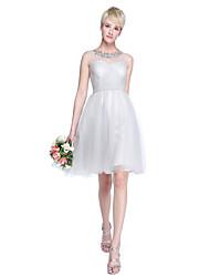 Lanting Bride® Até os Joelhos Tule Mini Eu Vestido de Madrinha - Linha A / Princesa Decorado com Bijuteria Tamanhos Grandes / Mignon com