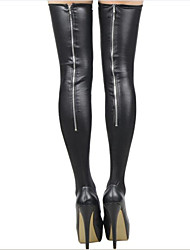 Women's Lady Zipper Long Socks Stripper Thigh-Highs Clothes Leather Hosiery