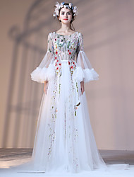 Formal Evening Dress A-line Jewel Court Train Lace Tulle Polyester with Embroidery Flower(s) Lace Bandage