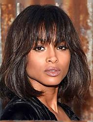 Trendy Natural Straight Medium Brown Capless Human Hair Wig Bob Hairstyle For Women 2017