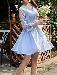 Feminino Evasê Vestido, Para Noite Trabalho Festa/Coquetel Sensual Moda de Rua Sofisticado Listrado Colarinho Chinês Acima do JoelhoManga
