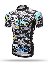 XINTOWN® Men's Summer Short Sleeve Grey Grid Mountain Cycling Jersey Road Bike Jersey Novelty Cycling Wear