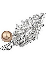 Women's Brooches Pearl Natural Pearl Alloy Leaf Jewelry For Daily