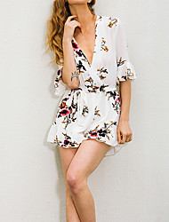 Rompers,Beach Holiday Vintage Floral Ruffle Deep V Short Sleeve High Rise Polyester Micro-elastic Spring Summer