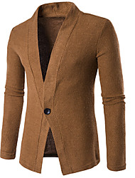 Going out Casual/Daily Simple Jacket,Solid V Neck Long Sleeve Fall Winter Machine wash Wash inside out Dry flat Cotton Regular