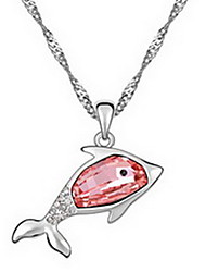 Pendant Necklaces Crystal Single Strand Cross Animal Shape Dolphin Leather Austria Crystal Alloy Basic Jewelry For Daily Casual