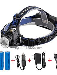 Lampes Frontales LED 2000 Lumens 3 Mode Cree XM-L T6 18650 Taille Compacte Fonction ZoomCamping/Randonnée/Spéléologie Usage quotidien
