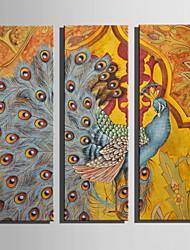 Animal A fleurs/Botanique Moderne,Trois Panneaux Toile Verticale Imprimer Art Décoration murale For Décoration d'intérieur