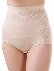 Women's Sexy Jacquard Slimming High Waist Body Shaping Panties Nylon Spandex Beige Female Underwear