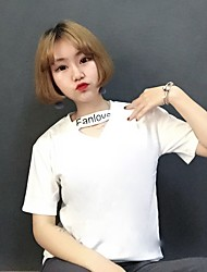 unterzeichnen Ulzzang Harajuku Stil Kurzarm V-Neck T-Shirt Sommerfrauen T-Shirt weiblichen koreanischen Fan von Wind