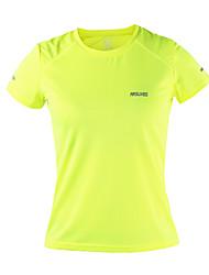 Arsuxeo Femme Tee-shirt de Course Manches Courtes Séchage rapide Antistatique Respirable Matériaux Légers Bandes Réfléchissantes Limite