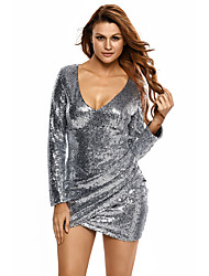 Women's Ruched Sequin Long Sleeve Nightclub Dress
