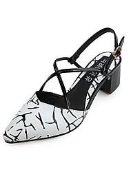 Damen High Heels Komfort PU Frühling Sommer Normal Komfort Geflochtene Riemchen Blockabsatz Block Ferse Weiß Schwarz Rot 2,5 - 4,5 cm