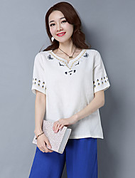 Spring new national wind retro ladies cotton T-shirt shirt shorts embroidered Chinese style