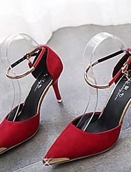 Saltos-Sapatos clube-Salto Agulha-Preto Vermelho Cinza-Flanelado-Social
