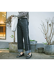20 new Korean high waist jeans loose black pantyhose curling straight jeans wide leg pants