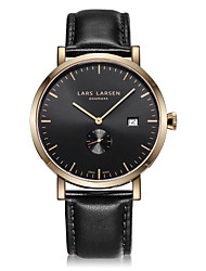 Men's Fashion Watch Swiss Quartz Calendar Stopwatch Quartz Genuine Leather Band Cool Casual Black