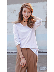 coreano de algodão de bambu camisa de mangas compridas t-shirt branco liso solto dentro camisa de algodão feminina compassiva levar os