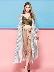 Dreamy Land Women's Going out Casual/Daily Simple Spring Summer Cloak/CapesStriped Shawl Lapel Long Sleeve Long Polyester