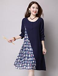 unterzeichnen Frühling und Sommer Baumwollkleid neun Punkte Hülse große Yards Temperament langärmelige Kleid in Mischfarben