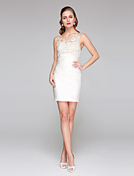 LAN TING BRIDE Fourreau / Colonne Robe de mariée - Chic & Moderne Petites Robes Blanches Transparent Courte / Mini Bijoux Dentelle Satin