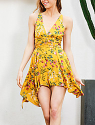 Women's Backless Rompers,Beach Holiday Vintage Floral Backless Strap Sleeveless High Rise Polyester Micro-elastic Spring Summer