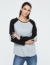 Damen Einfarbig Einfach / Street Schick Ausgehen / Lässig/Alltäglich T-shirt,Rundhalsausschnitt Alle Saisons Langarm Grau Kunstseide Dünn