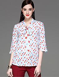 CELINEIA Women's Casual/Daily Work Cute Street chic Spring Summer BlousePrint Round Neck  Sleeve Blue Silk Thin