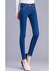Sign 2017 Spring models female waist jeans female feet pants pants trousers thin Slim pencil pants tide