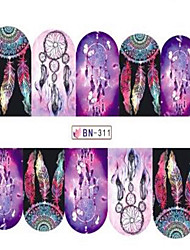 1pcs Fashion Beautiful Dream Mesh Decoration Nail Art Sticker Water Transfer Decals Nail Beauty Design Optional BN301-312