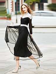 Women's Going out Casual/Daily Simple Loose Dress,Solid Round Neck Midi Long Sleeve White Orange Cotton Polyester Spring Summer Mid Rise