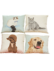 Set of 4 Cats and dogs  pattern Linen Pillowcase Sofa Home Decor Cushion Cover