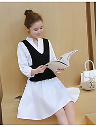 Sign spring new Korean temperament fashion dress shirt vest two-piece dress