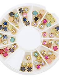60pcs coloridos enfeites de pérolas de metal arte lipping prego